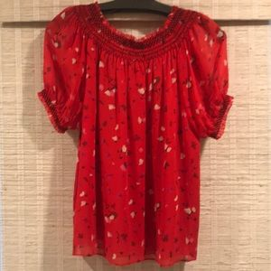 JOIE Off the shoulder. Red flowy top. Like new. M